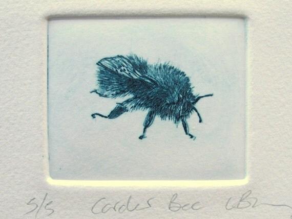 Cute Drypoint  Bee. Mini print. Hand printed fine art print.