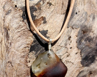 Hawaiian Amber Brown & Clear Fused Bonfire Beach Glass Wire Wrapped in 925 Sterling Silver on India Leather Necklace