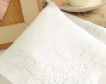 Vintage hankie,  Bride's Hanky,  White Handkerchief, Cut Work, White on White, Scallops, Flower Bloom, Rolled Hem,  11 inches