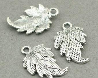 Acorn Leaf Charms Antique Silver 8pcs base metal beads 13X19mm CM0574S