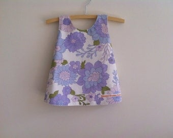 Upcycled baby dress, mauve and blue floral baby pinny, ecofriendly baby clothing handmade in Australia, size 0 girls size 6 - 12 months