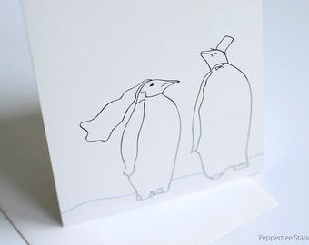 Wedding Penguins Congratulations Card