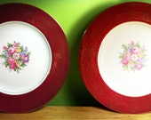 Pair of 2 Deep Red and 22 Karat Gold Floral Dinner Plates. Homer Laughlin Gorgeous Mid Century China.