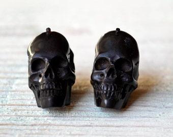 Skull Post Earrings Handmade Black Wood Hoop Earrings Tribal Style - Gauges Plugs Wood - PE030 DW G1