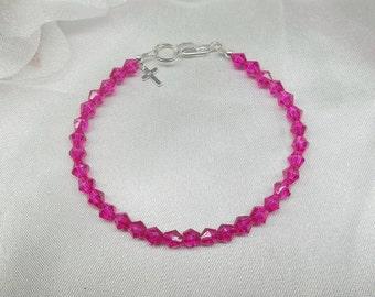 Girls Bracelet Hot Pink Bracelet Cross Bracelet Crystal Bracelet 925 Sterling Silver Bracelet BuyAny3+Get1 Free