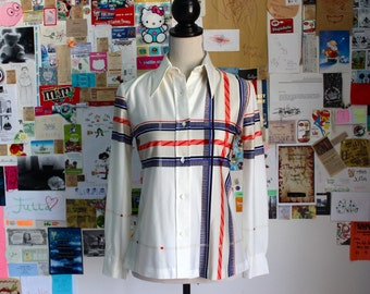 1970s plaid button down shirt