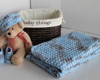 Baby Set - Baby/Toddler Blanket, Hat, and Booties -  Blue