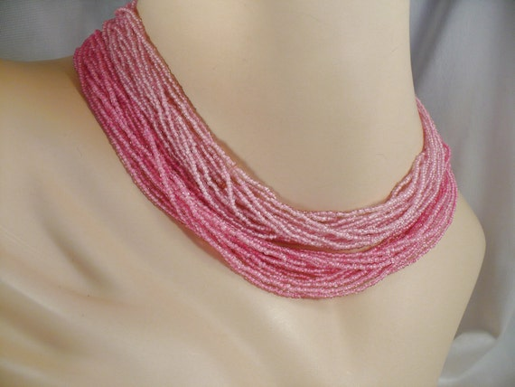 Vintage Pink Rhinestone & Glass Bead Necklace - Multi Strand 2-Tone Pink Toursade