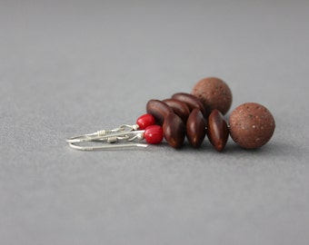 brown dangle earrings pink coral and acacia seed chocolate brown lava rock earrings