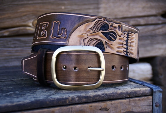 leather belt skull w lettering club name by outlawleatherusa