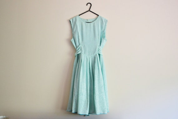 Mint Green Embossed Dress - 70s, embossed, tea dress, party dress, cocktail dress, flared skirt, xs - small, girls large - xl
