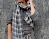 Plaid Linen Scarf With Soft Fringe