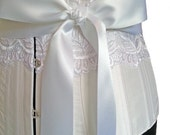 Ivy Vecilia Bridal Corset in White Silk and Lace with Duchess Satin Ribbon Waistband
