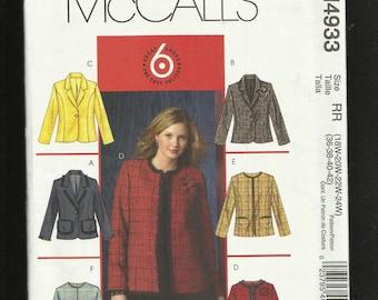 McCalls 4933  Jacket with Princess Seams & Trim Options  Sizes 18W to 24W UNCUT