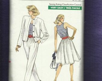 Vintage 1988  Vogue 7167 Cutaway Arm Tank Top Bolero Jacket Full Skirt & Tapered Pants  Sizes 8-10