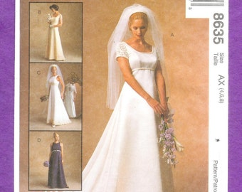 McCall's 8635 Bridal Gowns and Bridesmaids' Dresses With Empire Waist, Keyhole Back, and Detachable Train Sizes 4, 6, 8, UNCUT
