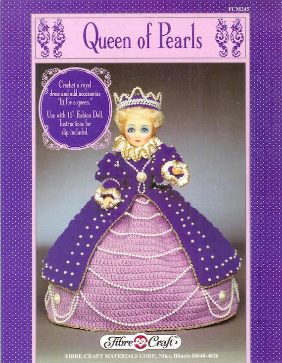 Fibre craft fcm245 queen of pearls crochet royal dress and for Fibre craft 18 inch doll
