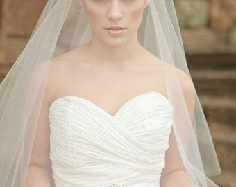 Wedding Veil, Circle Veil, Drop Veil, Elbow Length Veil with Blusher, Bridal Veil - Corrine Style 8613