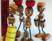Bargain Priced wooden 4 island band figurines Vintage Souvenir Set FREE SHIPPING