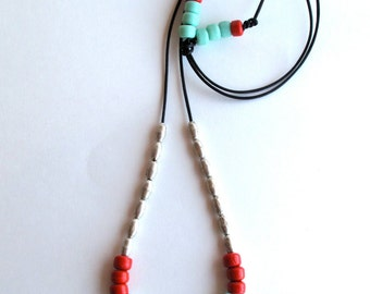 Beaded necklace Ethiopian silver plated beads Native American glass mint green and coral beads on black leather cord minimalist design