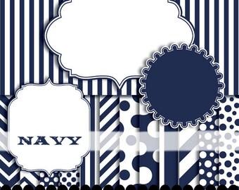 Navy digital paper frame, blue clip art chevron frame clipart, stripe background digital invitation graphics : p0176 3s2650 IP