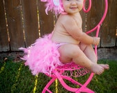 Feather Bloomers - Diaper Cover & Headband Set -  New Baby Flamingo - Photo  Prop -  fits baby -12 months - Christmas Gift Idea For Baby