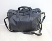 Vintage Rustic Black Leather Briefcase Style Tote Bag