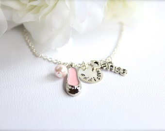 Pink Ballet Slipper Girls Sterling Silver Personalized Hand Stamped Name Charm Dance Necklace, Silver Dance Shoe Charm --FREE Gift Packaging