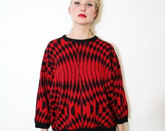 Vintage Op Art Illusion Metallic Red and Black Sweater