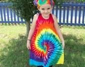 Girls Tie Dye Dress, Baby Tie Dye Dress, Tank Sleeve,  Rainbow Spiral