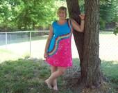 S M L XL 2X 3XL Tie Dye Dress- Adult and Plus Size Tie Dye Dress - Rainbow Squiggle Tie Dye Tank Dress