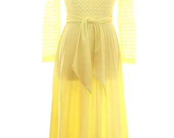 Hostess Vintage Yellow Accordion Dress Size Small