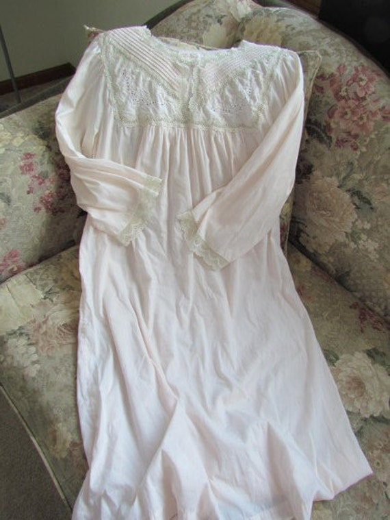 Victorian Barbizon Long Cotton Nightgown With By
