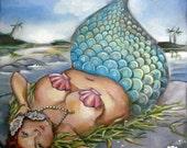 "Mermaid bbw pin-up art on canvas funny cute bathroom art print  8""x10"""