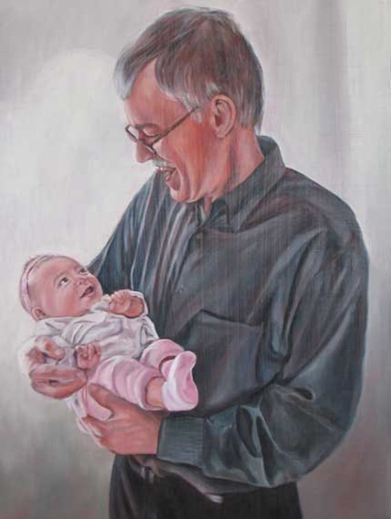 CUSTOM PORTRAIT - Oil Painting - Grandpa - Gift for Grandparents - 9x12