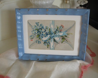 Vintage Postcard  Painted Frame Repurposed Wall Hanging Shabby Chic Cottage Home Decor VintageShabbyToChic