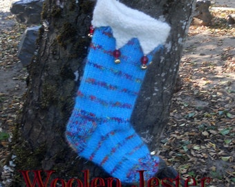 Hand Knit Woolen Christmas Stocking the Jester