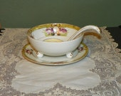Vintage Noritake Mayonnaise Condiment Bowl Spoon Underplate porcelain purple iris gilt yellow gold