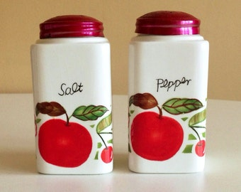 Vintage Ceramic and Chrome Hand Painted Salt and Pepper Shakers with Awesome, Kitschy Fruit & Flower Motif