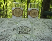 Rustic Champagne Glasses, Bride and Groom Glasses, Mr and Mrs Glasses, Rustic Wedding, Toasting Glasses, Wood Slice Glasses, Champagne