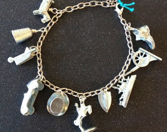 "Handmade - Upcycled/ Recycled/ Repurposed ""Monopoly"" Pewter Game Piece Bracelet"