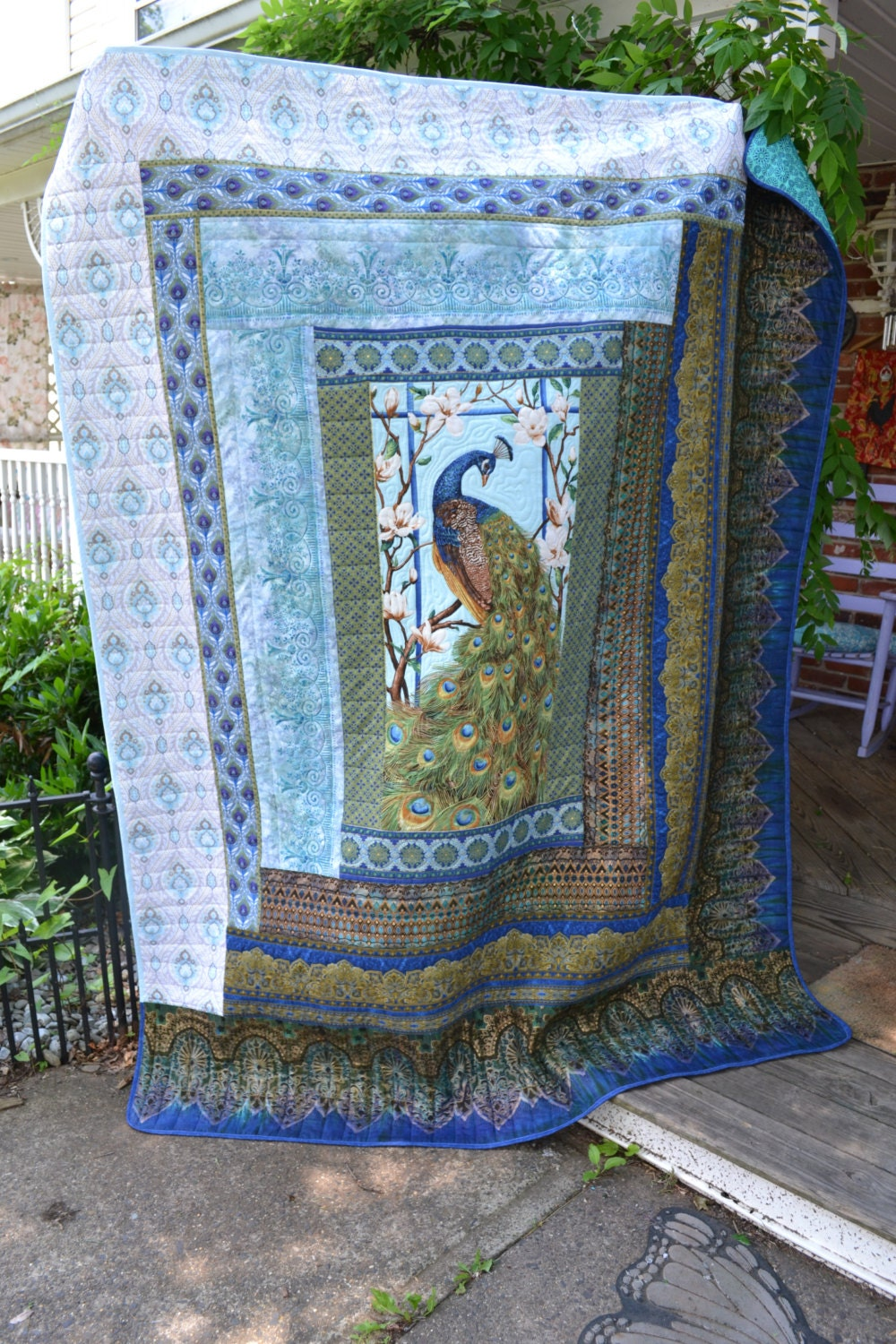 Handmade Quilt Peacock Blue Exotic By Truelovequiltsforyou