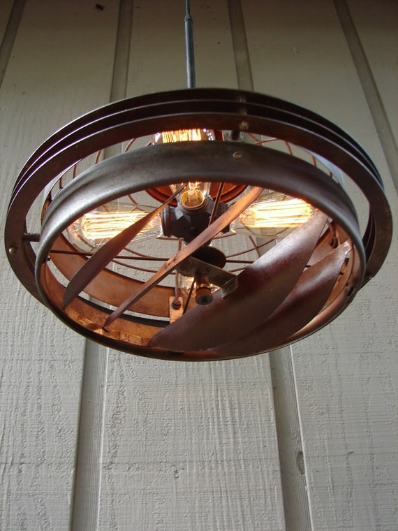 Industrial Pendant Lighting Upcycled Vintage Industrial Fan