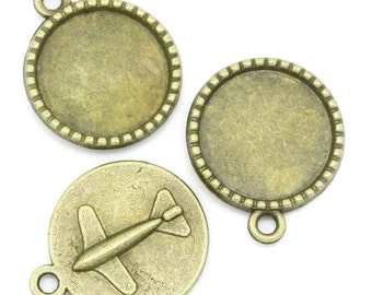 10 Cabochon Frame Settings  - Antique Bronze - Airplane - Holds 18mm - 26x22mm - Ships IMMEDIATELY  from California - BC620