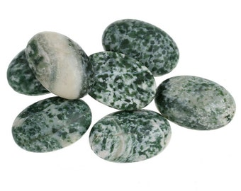 Cabochons 30x20mm Agate Green Marbled Flat Back - 2pcs  - Ships IMMEDIATELY from California - C153