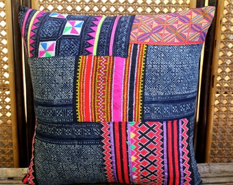 "20"" Vintage Embroidery and Indigo Batik Patchwork Hmong Pillow Or Cushion Cover, **Free worldwide shipping**"
