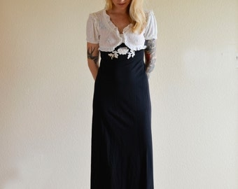 1970s SML black and white maxi lace and ruffled dress