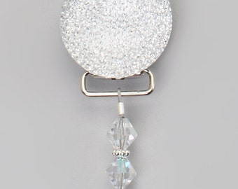 Clear Sparkly Glitter with Swarovky Crystals Pacifier Clip (CSGC) (MSRP 33.00)