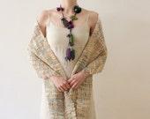 Lariat fiber necklace, mixed media statement jewelry, purple green teal, OOAK
