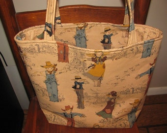 Golden Farm, market bag, grocery tote, library bag, hostess gift, Autumn, Henry Alexander, Scarecrows, Fall